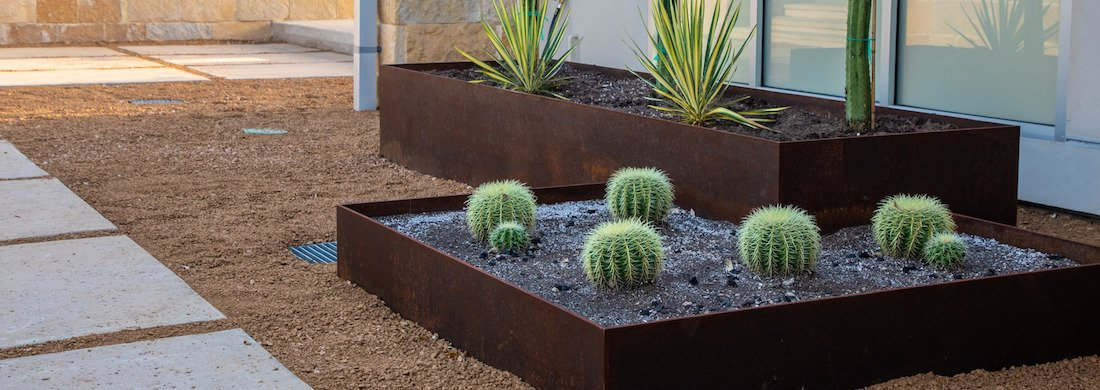 patio with raised beds and succulents
